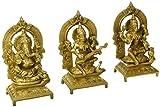 Idol Collections Lakshmi, Ganesh & Sarasvati Brass Statue, Yellow