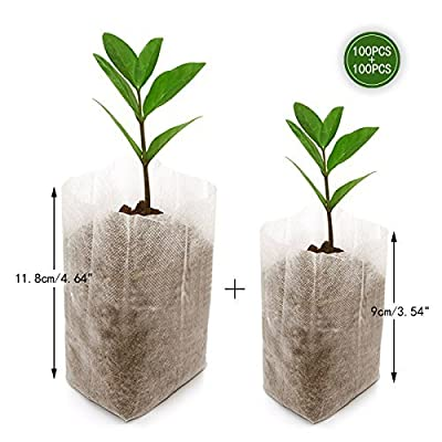 KINGLAKE 200 Pcs Biodegradable Non-Woven Grow Bags Plants Seeding Grow Bags Nursing Seedling Raising Pots Plants Pouch (100 Pcs 10x12cm+100 Pcs 14x16cm) : Garden & Outdoor