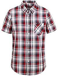 Men's Short Sleeve Button Down Shirts Plaid 100% Cotton Near Slim-fit Button up Casual Shirts