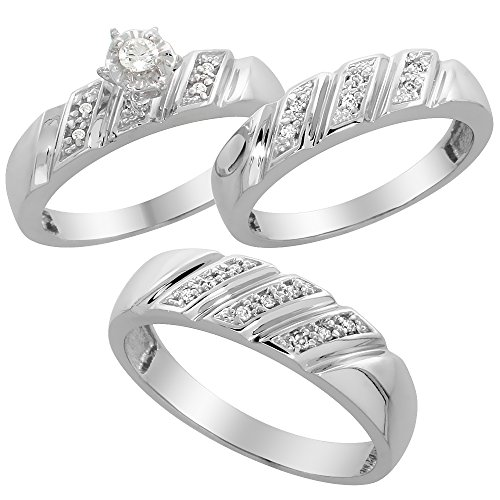 Sterling Silver Diamond Trio Wedding Ring Set His 6mm & Hers 5mm Rhodium finish, Mens Size 8 to 14