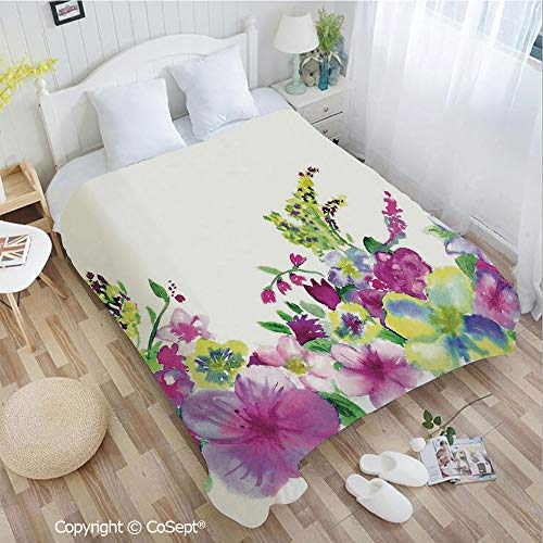 PUTIEN Cozy Flannel Blanket,Hybrid Garden Floret Composition with Heathers and Stocks Art,for Bed,Couch,Car(72.83