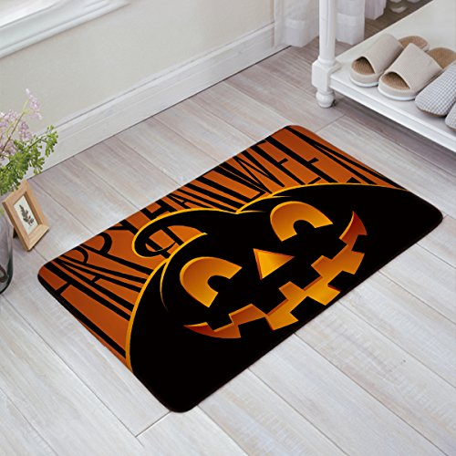 BULING Custom Door Mat Halloween Theme Evil Pumpkin Pattern Indoor Non-slip Rubber Entrance Rugs for Bathroom 23.6