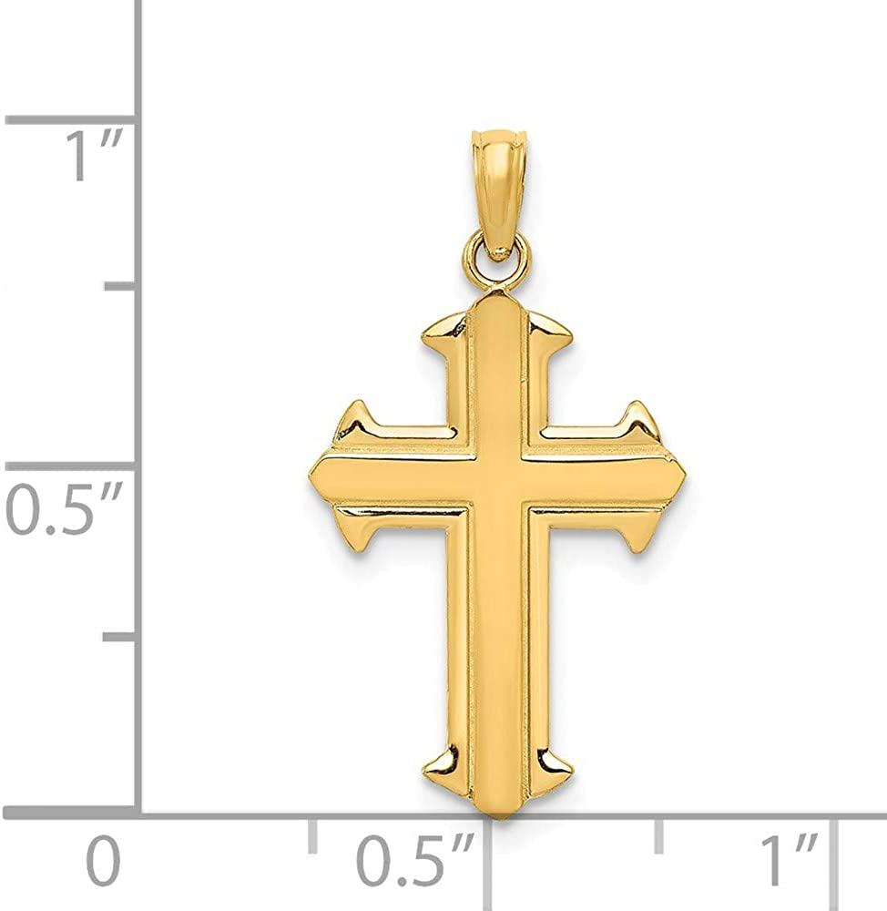 FB Jewels Solid 14K Yellow Gold Passion Cross Pendant