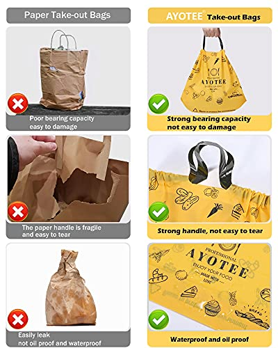 AYOTEE Large Plastic Shopping Bags with Handles (Bulk 25 Counts), Reusable Drawstring Take Out Bags / To Go Bags / Carry Out Bags / Plastic Bags for Food, Grocery, Restaurant, Catering, Delivery--11.8''15.7''4.7''