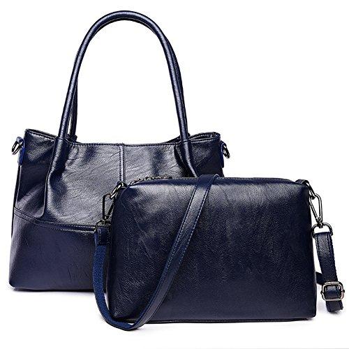 Sra.. Bandolera,Bolsas de bandolera de ocio salvaje traje de dos piezas bolso para mujeres negro-negro Azul