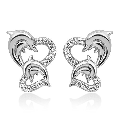 Sterling Silver CZ Twin Heart Mom & Baby Dolphin Fish Love Symbol Post Stud Earrings 13 mm (Sterling Heart Silver Dolphin)