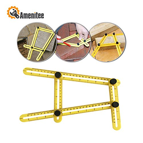 Amenitee Universal Angularizer Ruler - Easy Angle Ruler-Multi Angle Measuring Tool-With Unique Line Level-Embedded ABS Bolts and Nuts-Ultimate Template Tool-Perfect (Yellow Ruler)