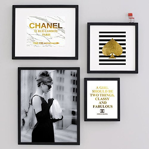Set of four art print audrey hepburn black art photo breakfast at tiffanys chanel gold foil