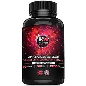 Apple Cider Vinegar Pills ǀ Appetite Suppressant For Weight Loss ǀ Natural Detox Cleanse, Blood Sugar, Fat Burner For Women, Keto Diet ǀ Extra Strength 2250 mg ǀ 90 Pure Apple Cider Capsules