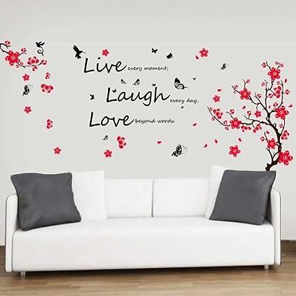 Adesivi Da Parete Con Fiori E Farfalle Citazione Live Laugh Love