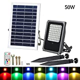 Solar LED Flood Lights, T-SUNRISE 50W RGB Color Changing Outdoor Security Floodlight, IP65 Waterproof, Remote Control, Landscape Lighting Solar Spotlight for Decking Lighting, Patio Lighting