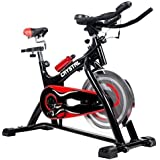Indoor Cycling Bikes with LCD Monitor and Free Bottle Trainer Bicycle Stationary Fitness Equipment with 30lbs flywheel Exercise Bike