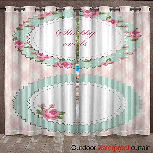 RenteriaDecor 0utdoor Curtains for Patio Waterproof Retro Floral Oval Frame with Roses in Shabby Chic Style W84 x L108