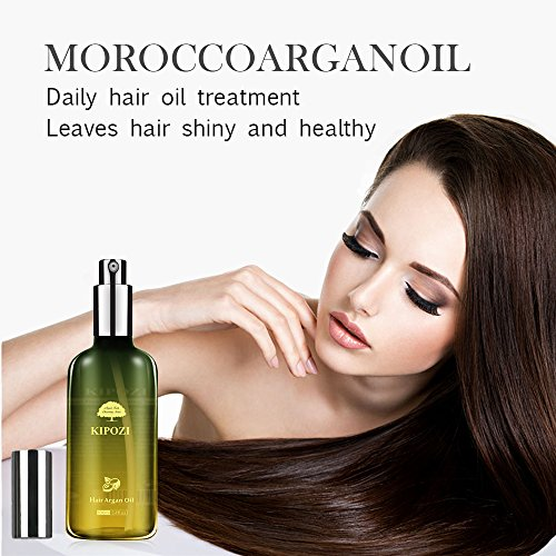 KIPOZI Argan Oil for Hair,Heat Protector Anti-Frizz Hair Repair Serum Leave in Treatment for Frizz Control, Shine and Straightening,Repair Damage Hair&Split ends,3.4 fl. Oz by kipozi (Image #3)
