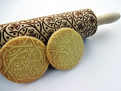 IRISH CLOVER KNOT embossing rolling pin. Wooden embossing rolling pin with Irish pattern