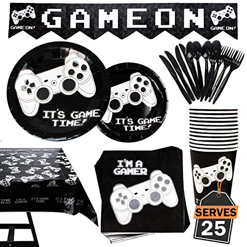177 Piece Video Gaming Party Supplies Set Including Banner, Plates, Cups, Napkins, Tablecloth, Spoon, Forks, and Knives, Serves -