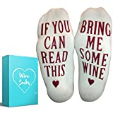 """Wine Socks + Gift Box - Premium Combed Cotton """"If You Can Read This, Bring Me Some Wine"""" Novelty Socks – Funny Gift For Men And Women – Perfect For Valentines, Birthday, Bridal Shower, and more!"""