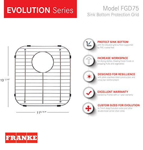 Franke Evolution Universal 13.1-inch x 11.6-inch Double Bowl Sink Protection Grid in Stainless Steel with Rear Drain, FGD75 by Franke (Image #5)