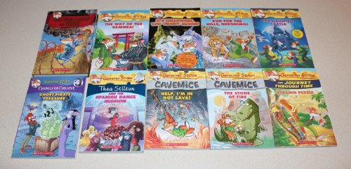 Geronimo Stilton 10 Book Variety Collection Thea, Geronimo & Creepella Von Cacklefur Cavemice -