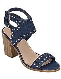 Soda Women's Shoes Block Heeled Studded Ankle Sandal MVE Shoes