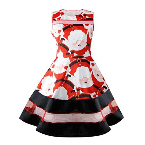 Christmas Dress, Ninasill Exclusive Santa Snowman Dress Sleeveless Xmas Swing Retro Skirt (L, Red) - Exclusive Sleeveless Dress
