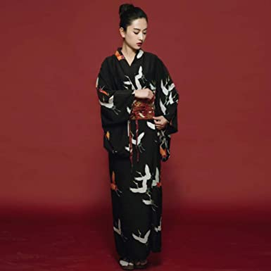 Japanese Style Retro Women Kimono Dress Costume Bathrobe with Waistband