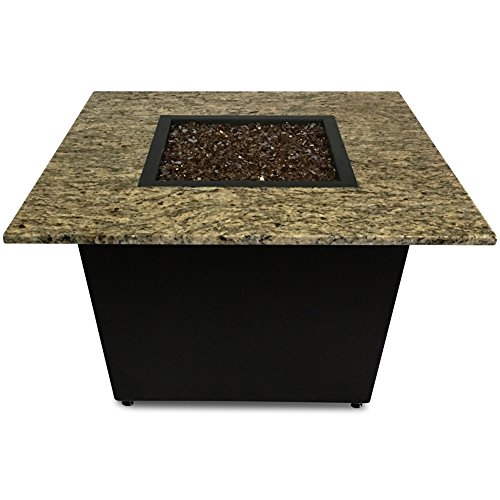 Venetian Fire Pit Table – 36″ Square – Santa Cecilia Granite – Bronze Base Enclosure – Copper Fire Glass – Made in America Review