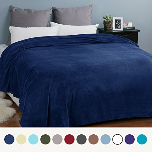 Flannel Fleece Luxury Blanket Navy Queen Size Lightweight Cozy Plush Microfiber Solid Blanket by Bedsure