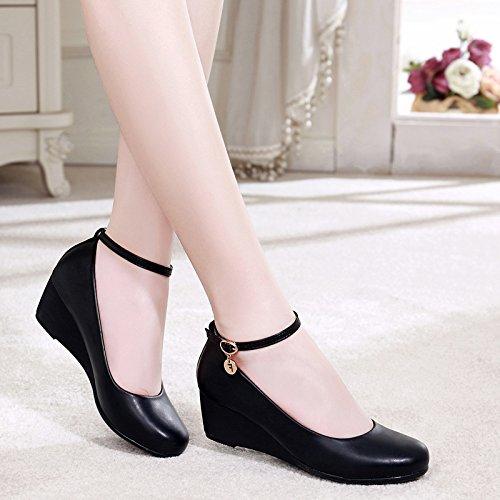 SSBY Tacones Zapatos Zapatos De Trabajo Zapatos Negros Profesional Fondo Suave Superficie Suave Palabra Hebilla black