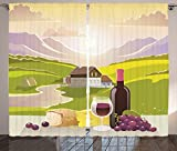 Cheap Winery Decor Curtains 2 Panel Set Wine Cheese and Bread with Mountain Landscape in French Rurals Pastoral Scenery Living Room Bedroom Decor Green Purple Cream