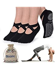 Ozaiic Yoga Socks for Women Non-Slip Grips & Straps, Ideal for Pilates, Pure Barre, Ballet, Dance, Barefoot Workout