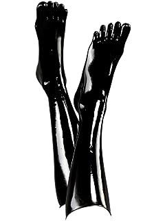 960f5f4ee610f0 Amazon.com  EXLATEX Unisex Knee High Latex Toe Socks Calf Stockings ...