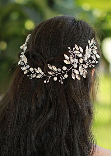 Missgrace Bridal Crystal and Beads Headband Wedding Vintage Hair Vine Bridal Hair (Crystal Hair Vine)