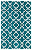 9'6'' x 13' Rectangular Kaleen Area Rug REV03-91-9613 Teal/Ivory Color Hand Tufted in India ''Revolution Collection'' Geometric Pattern