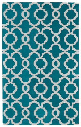 9'6'' x 13' Rectangular Kaleen Area Rug REV03-91-9613 Teal/Ivory Color Hand Tufted in India ''Revolution Collection'' Geometric Pattern by Kaleen
