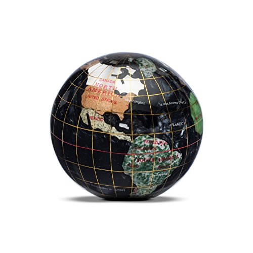 - Gemstone Globe Paperweight with Opalite Ocean Color: Black Opal, Size: 3