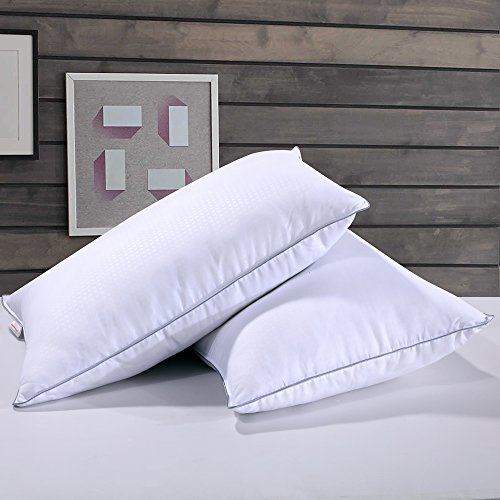 Duck Down Pillow - Homelike Moment Down Feather Pillow Feather Bed Pillows for Sleeping Standard Queen Size Set of 2