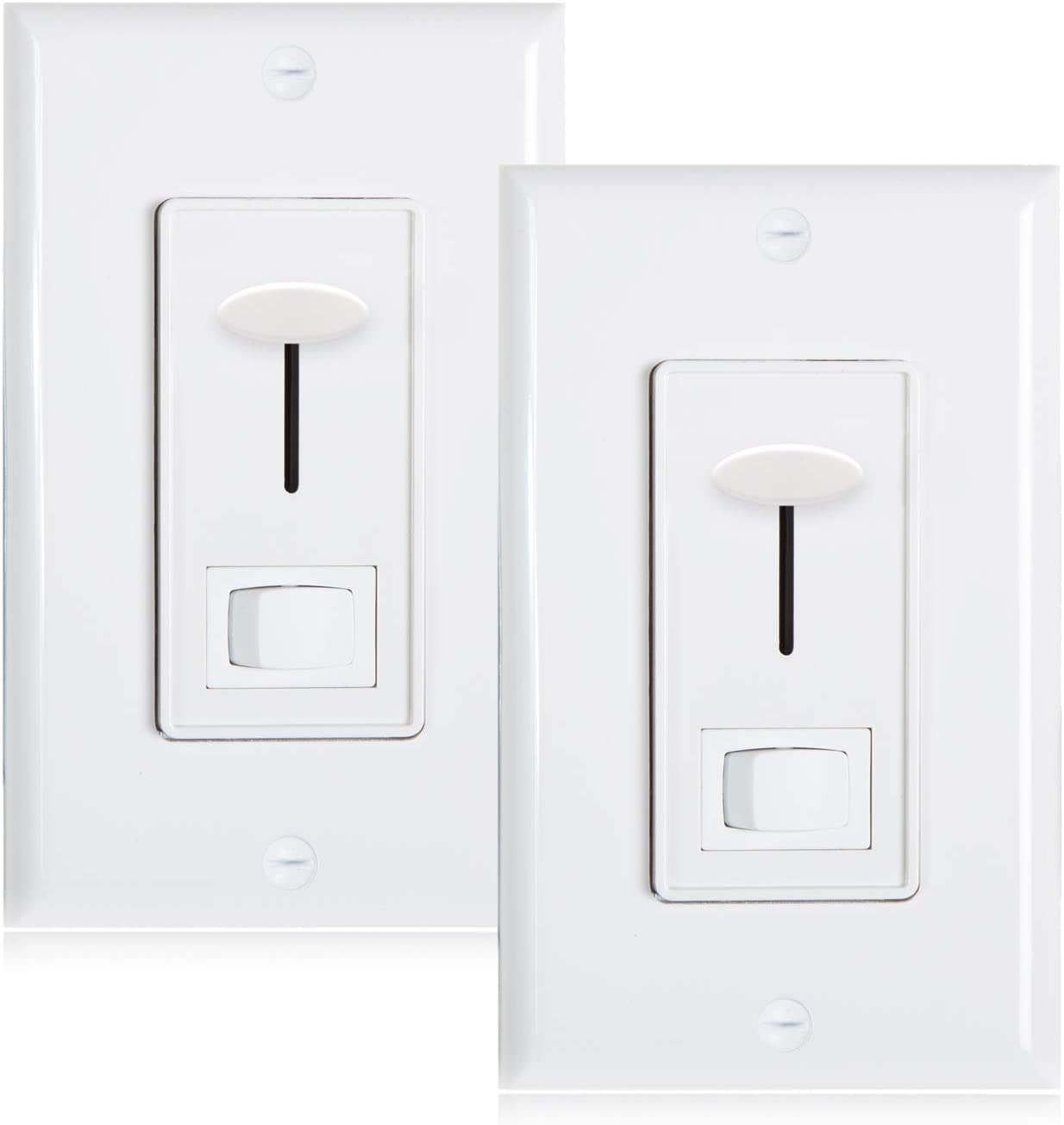 Maxxima 3-Way/Single Pole Dimmer Electrical light Switch 600 Watt max, LED Compatible, Wall Plate Included (2 Pack) - -