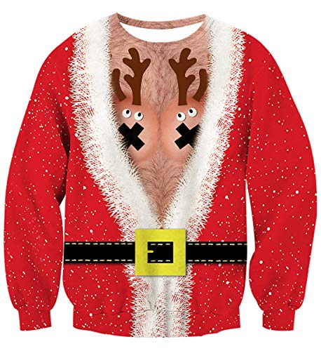 Uideazone Mens Womens Print Ugly Christmas Sweater Crewneck Sweatshirt Pullover Sweatshirts for Couples Friends]()