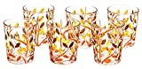 BICCHIERI LAURUS Glasses Liquor Crystal Hand Painted Traditional Technique Colors Venice-Orange