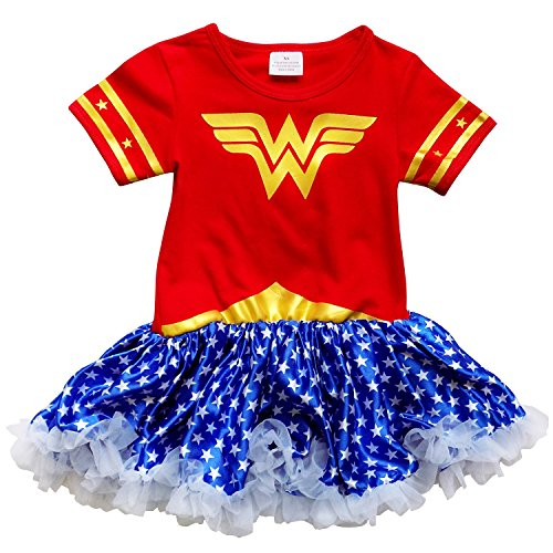 So Sydney Toddler Girls Superhero Wonder Woman T-Shirt Dress Tutu Skirt Costume (XXL (7), Wonder Woman Red & (Wonder Woman With Tutu)