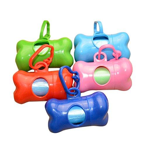 bluemoo 1Knochen Form Haustier Hund Katze Poo Kotbeutelspender mit Tasche Scoop-zufällige Farbe