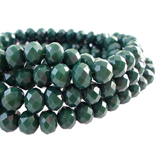 10 Mm Faceted Glass - BeadsOne 10mm - 72 pcs - Glass Rondelle Faceted Beads Dark Green for jewerly Making findings Handmade jewerly briolette Loose Beads Spacer Donut Faceted Top Quality 5040 (C83)