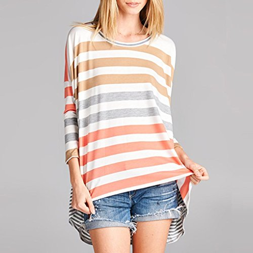 Mode gestreifte Bluse für Frauen BURFLY Frauen Casual Iregular gestreiften lose T-Shirt Batwing Sleeve Top lose Tunika Shirt Orange zmj579HGY