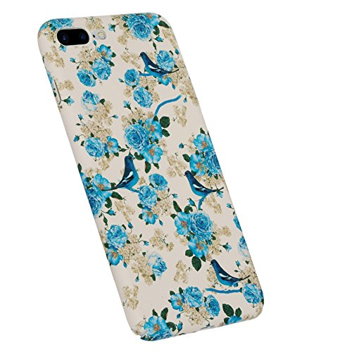 BENKS Santorini Encounter Embossed Blue Flowers and Birds Pattern PC Hard Tasche Hüllen Schutzhülle - Case für iPhone 7 Plus 5.5