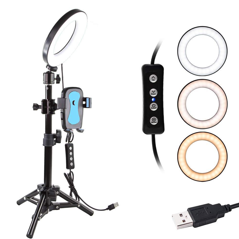 "6"" Selfie Ring Light with Tripod Stand for YouTube Video and Makeup,Natwag Led Desktop Ring Light,Cell Phone Holder Desktop LED Lamp Mini LED Camera Light with 3 Light Modes & 11 Brightness Level."