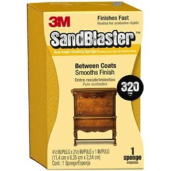 3M SandBlaster Dual Angle Sanding Sponge, 320-Grit, 2.625-Inch by 4.5-Inch