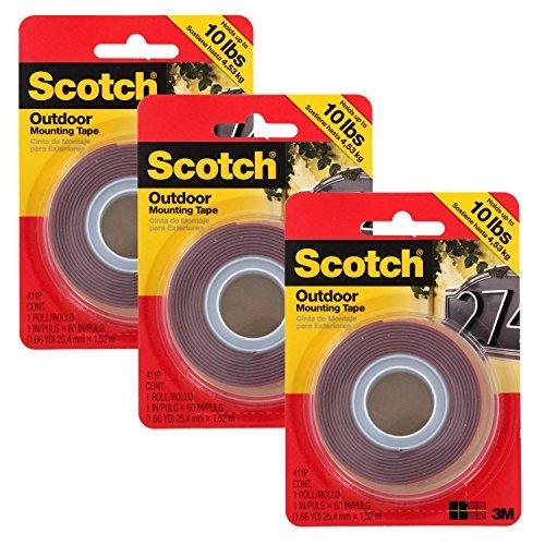 Scotch Outdoor Mounting Double Sided Tape, 10lb Capacity, Pack of 3 (MMM411P)