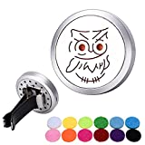 owl air freshener for car - Bluesnow Car Air Freshener Aromatherapy Essential Oil Diffuser Clip, Stainless Steel Hollow Owl Round Locket with 12 Refill Pads