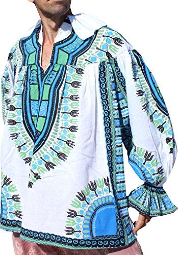 RaanPahMuang Renaissance Puffy Pirate Shirt in Afrikan Dashiki Patterns, X-Large, Saloo Cotton (Renaissance Garb Patterns)